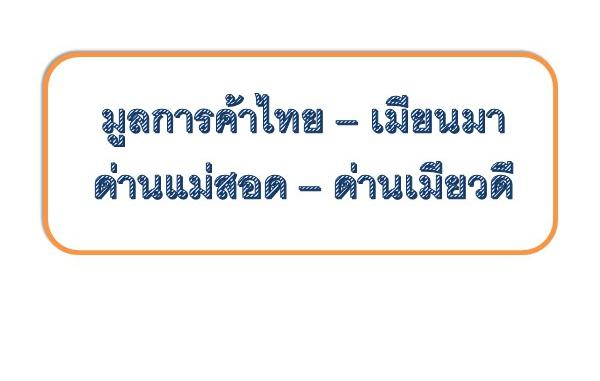 มูลค่าการส่งออกนำเข้าและ 10 รายการสินค้า ณ เดือน กันยายน 2563 ณ ด่านอำเภอแม่สอด จังหวัดตาก