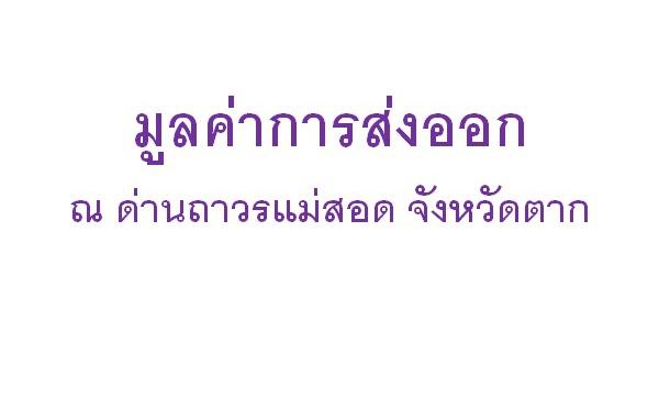 มูลค่าการส่งออกนำเข้าและ 10 รายการสินค้า ณ เดือน สิงหาคม 2564 ณ ด่านอำเภอแม่สอด จังหวัดตาก